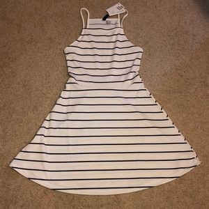 Black and white stripped skater dress